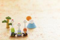 ツルの家族と松と初日の出 干支のクラフト