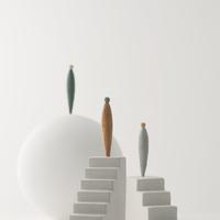 ピープルと球体と階段 クラフト 11017017808| 写真素材・ストックフォト・画像・イラスト素材|アマナイメージズ