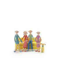 ソファーに座るカップルと老夫婦 クラフト