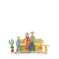 ソファーに座る夫婦と子供 クラフト