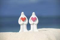 砂浜でハート抱いた白い夫婦と海 クラフト