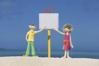浜辺の看板を指す夫婦と海 クラフト