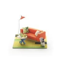 オレンジのソファのミニチュアルーム クラフト