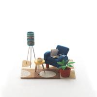 青いソファのミニチュアルーム クラフト