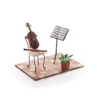 楽器と楽譜のミニチュアルーム クラフト