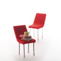赤いいすが並んだミニチュアルーム クラフト