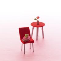 赤いいすとテーブルのミニチュアルーム クラフト