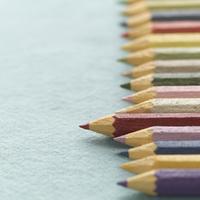 左を向いて並ぶ色えんぴつ クラフト