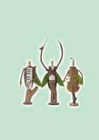 立っている木の人形のオーケストラと緑 クラフト