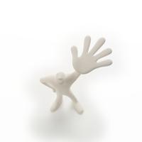 左手のひらを開いて立つ人のオブジェ クラフト
