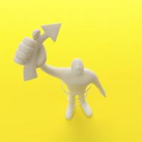 右手に矢印を掲げて立つ人のオブジェと黄 クラフト