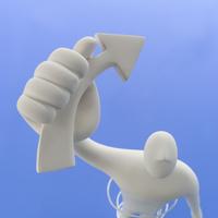 右手に矢印を掲げて立つ人とスパイラルのオブジェと青 クラフト