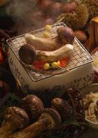 焼松茸を囲む松茸と栗