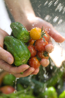 トマトとピーマンを水で洗うシーン