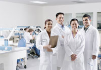 Group portrait of technicians in lab
