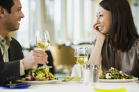 Couple talking at restaurant