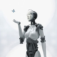 Digital composite of Asian woman�fs face on robot