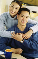 Asian couple hugging