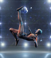 Asian anatomical man kicking soccer ball