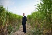 Asian businessman standing in field