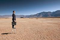Asian businessman standing on ladder in desert 11018033875| 写真素材・ストックフォト・画像・イラスト素材|アマナイメージズ