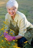 Mixed race woman working in garden 11018035261| 写真素材・ストックフォト・画像・イラスト素材|アマナイメージズ