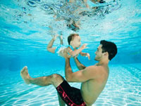 Father swimming underwater with daughter in swimming pool