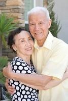 Senior Chinese couple hugging