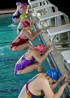 Swimmers preparing to start race