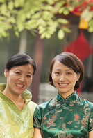 Chinese mother and daughter wearing traditional clothes