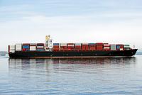 Cargo container ship on ocean