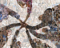 Business people holding hands over montage of smiling faces