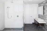 Shower, sinks and mirror in modern bathroom