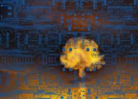 Nuclear explosion under layer of circuit board,  11018055846| 写真素材・ストックフォト・画像・イラスト素材|アマナイメージズ