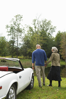 Rear view of couple holding hands by convertible in park