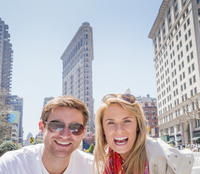 Caucasian couple smiling in New York City, New York, United States
