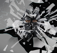 Caucasian thief in mask shattering glass