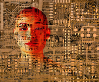 Asian woman over microchip circuits