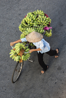 High angle view of vendor pushing bicycle with bananas