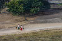 People carrying baskets on dirt path in rural landscape