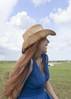 Caucasian woman in rural pasture