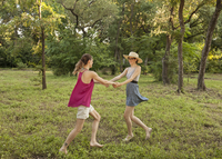 Caucasian women playing in park