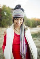 Caucasian woman walking outdoors