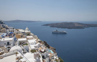 High angle view of cruise ship sailing at Santorini, Cyclades, Greece