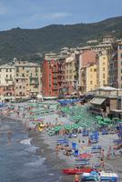 Aerial view of tourists on Camogli beach, Liguria, Italy
