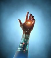 Caucasian woman with bionic technology