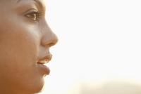 Profile of sweating Hispanic woman