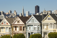 Victorian style homes in San Francisco cityscape, California, United States