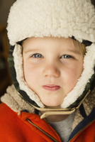 Caucasian boy wearing warm hat
