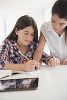 Caucasian twin sisters doing homework